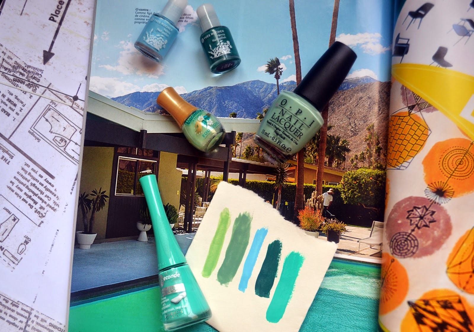 Mint/Turquoise nails polish selection for summer