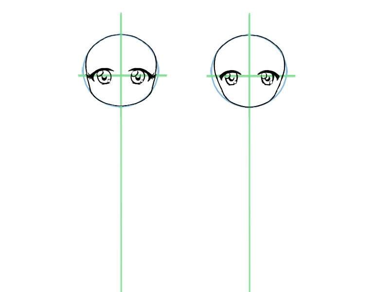 Etape trois pour dessiner le visage d'un chibi: placer correctement les yeux au milieu du visage