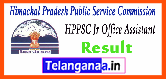 HPPSC  Himachal Pradesh Public Service Commission Jr Office Assistant Result 2017