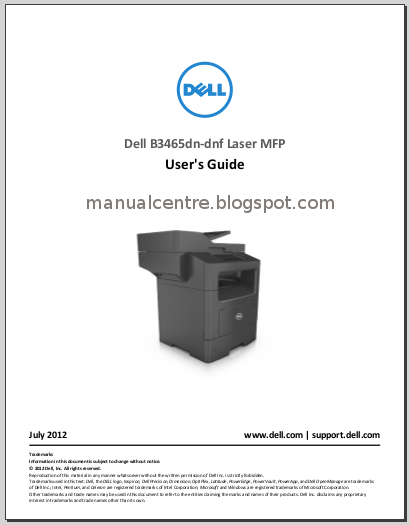 Dell B3465dnf Laser MFP Manual Cover