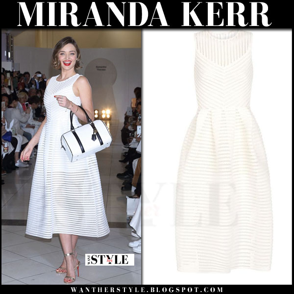 Miranda Kerr in white sleeveless midi dress maje rire what she wore red carpet