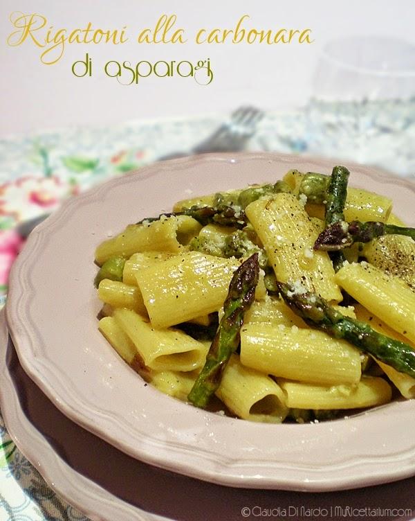 Rigatoni alla carbonara di asparagi