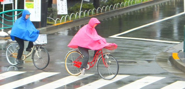 Cycling in ponchos in Tokyo