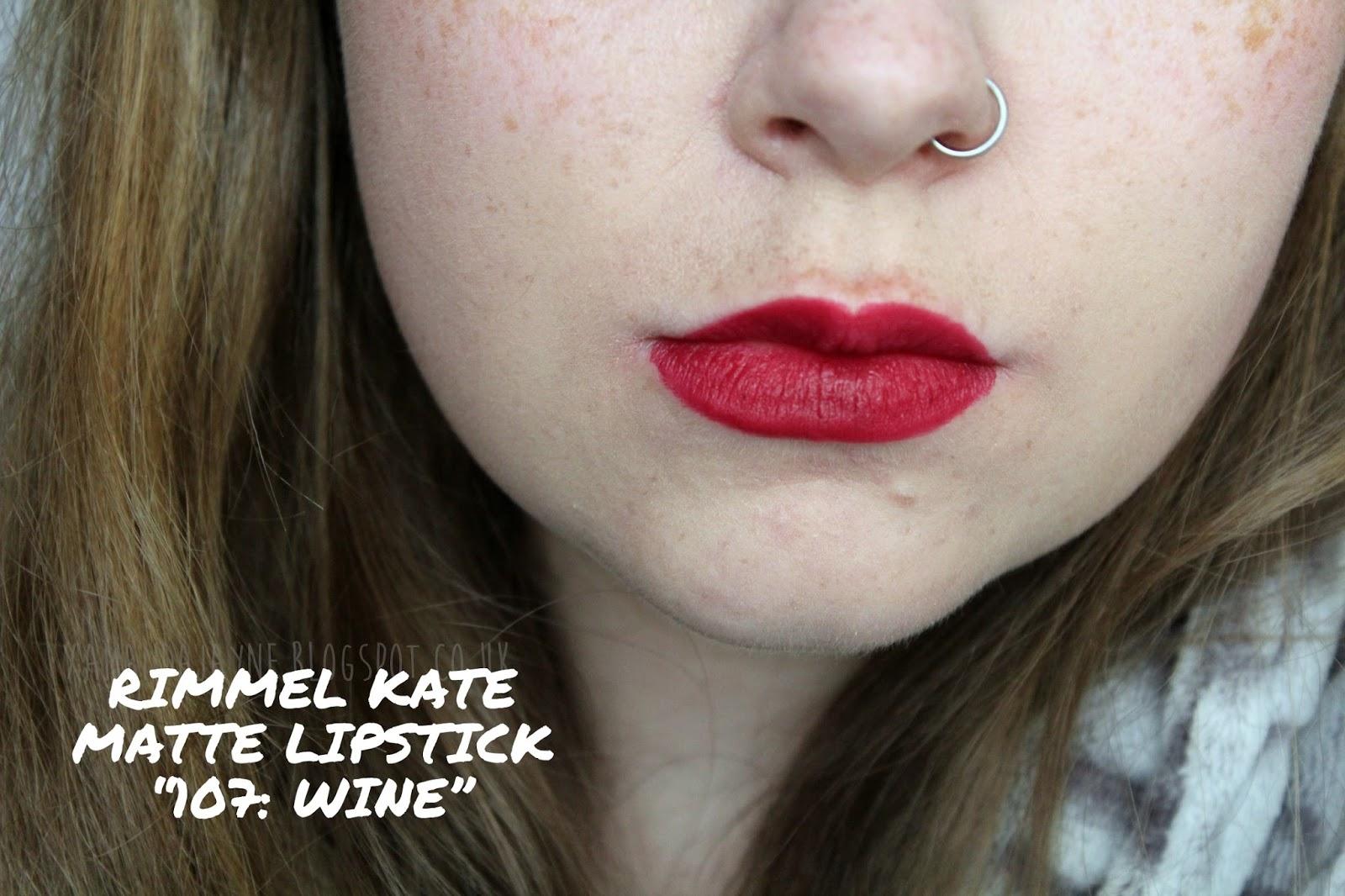 rimmel kate moss matte lipstick 107 wine swatch