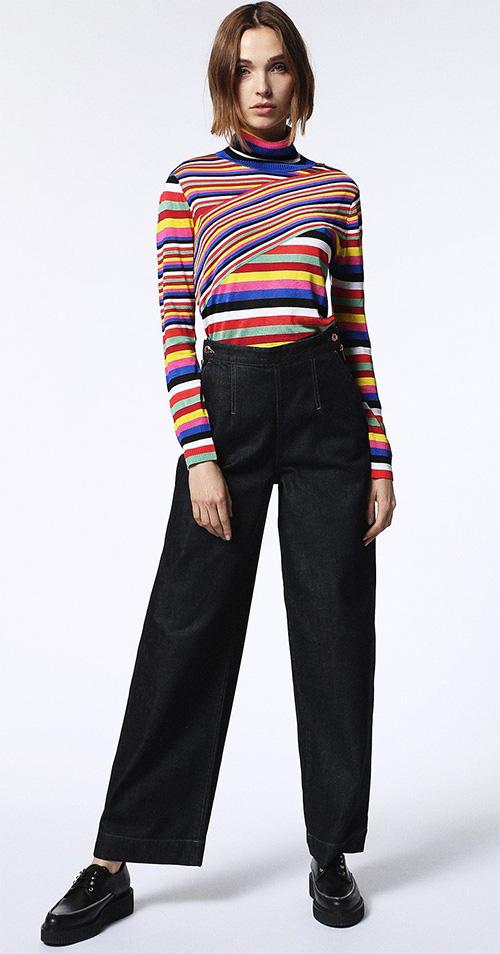 Pull femme col roulé multicolore Diesel M-VIDA Maille côtelée