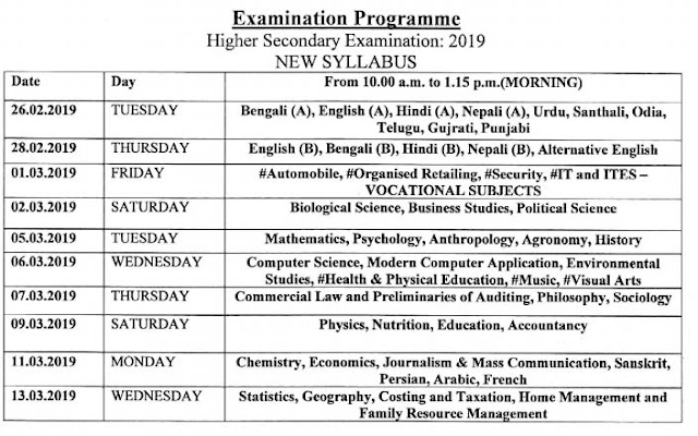 WBCHE 12th Class Routine 2019 (New Syllabus)