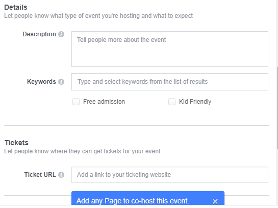 Enter Event Description, Keywords (optional) and Ticket URL