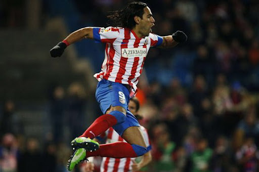 Atlético Madrid striker Radamel Falcao celebrates after scoring against Deportivo La Coruña