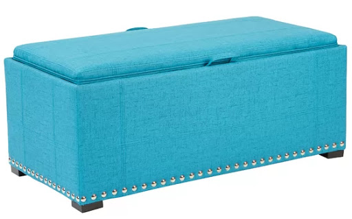 Bright Teal Blue Upholstered Storage Bench Ottoman