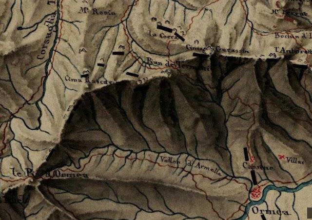 vecchia carta Dalla Colla dei Termini al Pizzo di Ormea battaglie napoleonica napoleone val tanaro