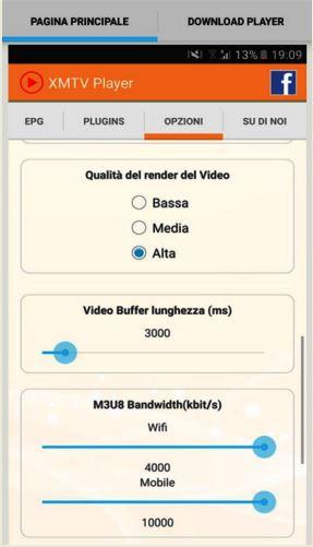 Pagina principale per la configurazione ottimale dello streaming su XMTV