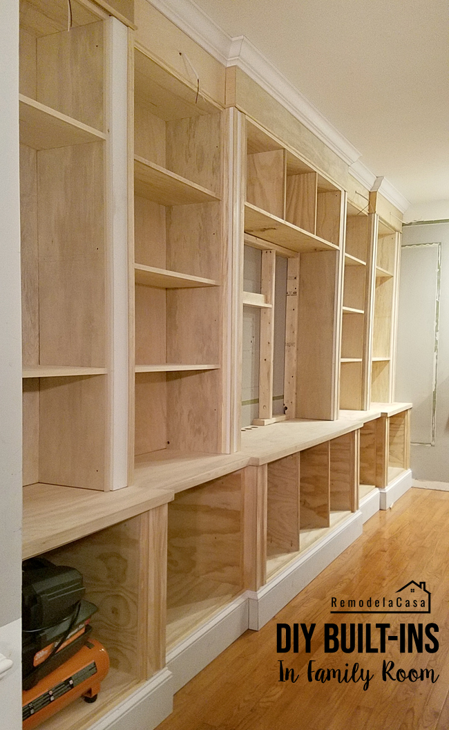 a wall of shelves being constructed