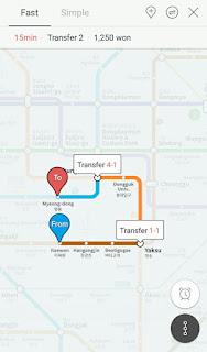 rute metro korea di aplikasi
