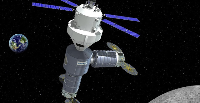 An artist's rendering of a lunar-orbit habitat proposed by Orbital ATK. Credit: Orbital ATK
