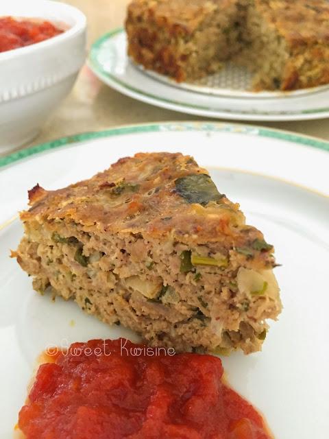 Sweet Kwisine, pain de viande, boeuf, porc, oeuf, menthe, cumin, meatloaf, tomates