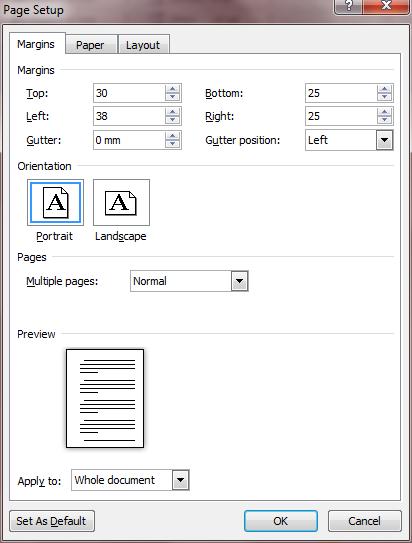 Dissertation page setup