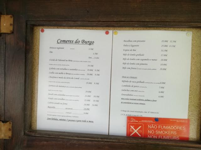 """Ementa e preços do restaurante """"O Burgo"""""""