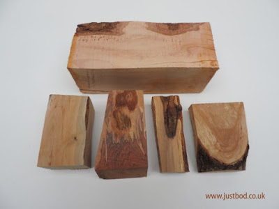 Different blocks of hawthorn wood