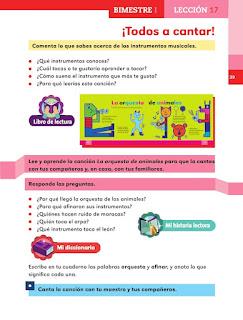 Apoyo Primaria Español 1er grado lección 17 ¡Todos a cantar!