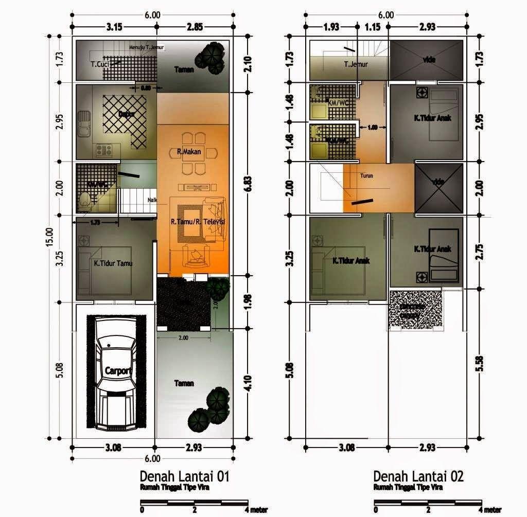 Layout Denah 2 Lantai Luas Tanah 120 Modern