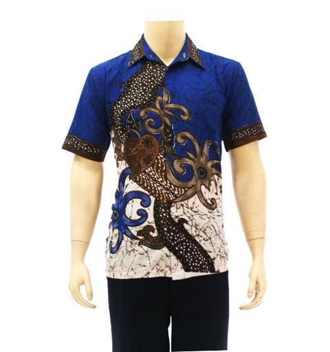 model baju batik pria kombinasi polos Terbaru