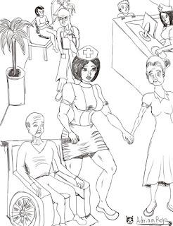 Una Chica Enfermera Atiendiendo a sus Pacientes