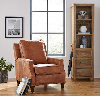 Stone and Beam Marin Leather Recliner chair