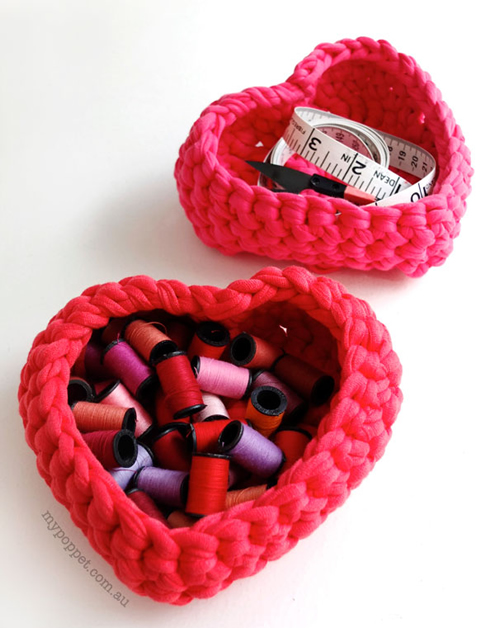 Valentine's Day free crochet patterns, heart basket (photy by My Poppet) | Happy in Red