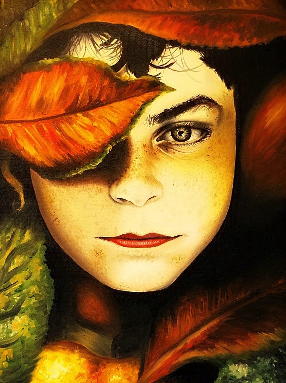 Quadro Folhas Secas sobre O Rosto de Mulher na Casa de Cultura de Itajaí