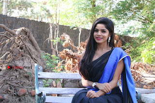 Actress Divya Bharthi Stills IN Blue Saree at Mupparimanam Press Meet Stills  0007.jpg