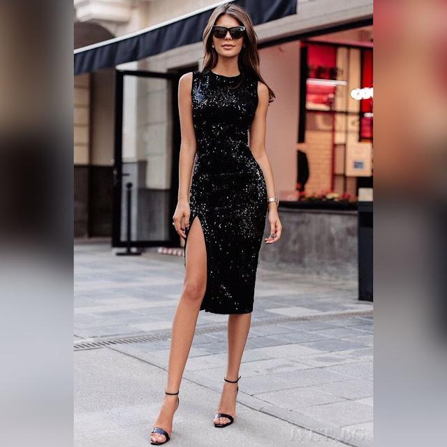 Αμάνικο μίντι  μαύρο φόρεμα MIKAELA BLACK