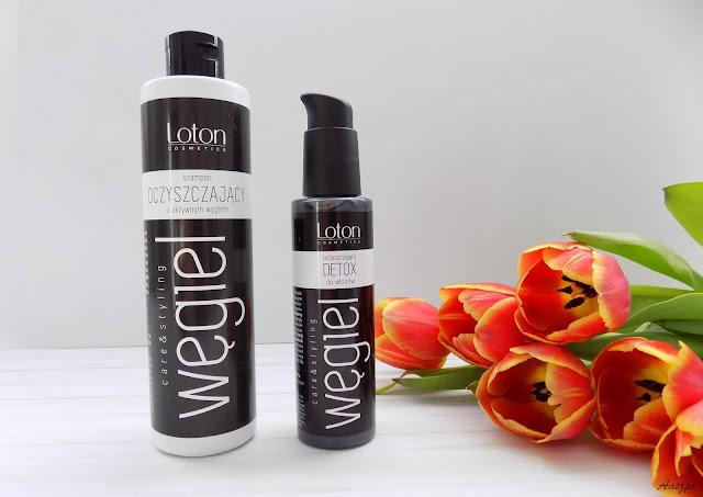 Oczyszczający zestaw do włosów: szampon z węglem aktywnym i detox Loton