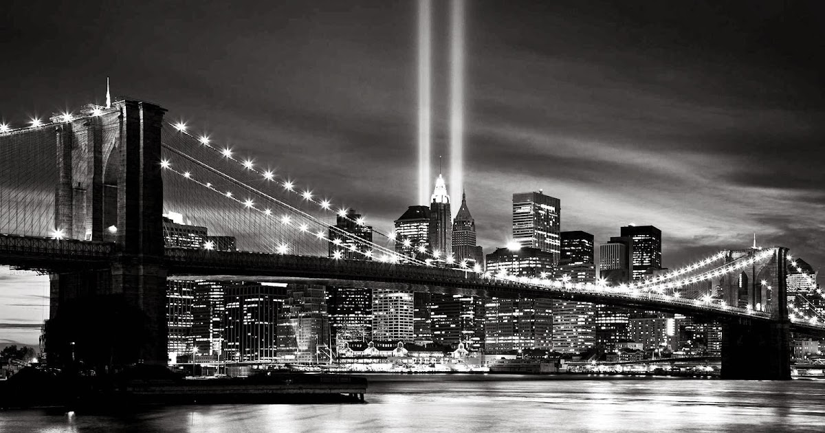 Brooklyn Bridge Wallpaper Black And White New York City At Night Black And White Desktop Wallpapers