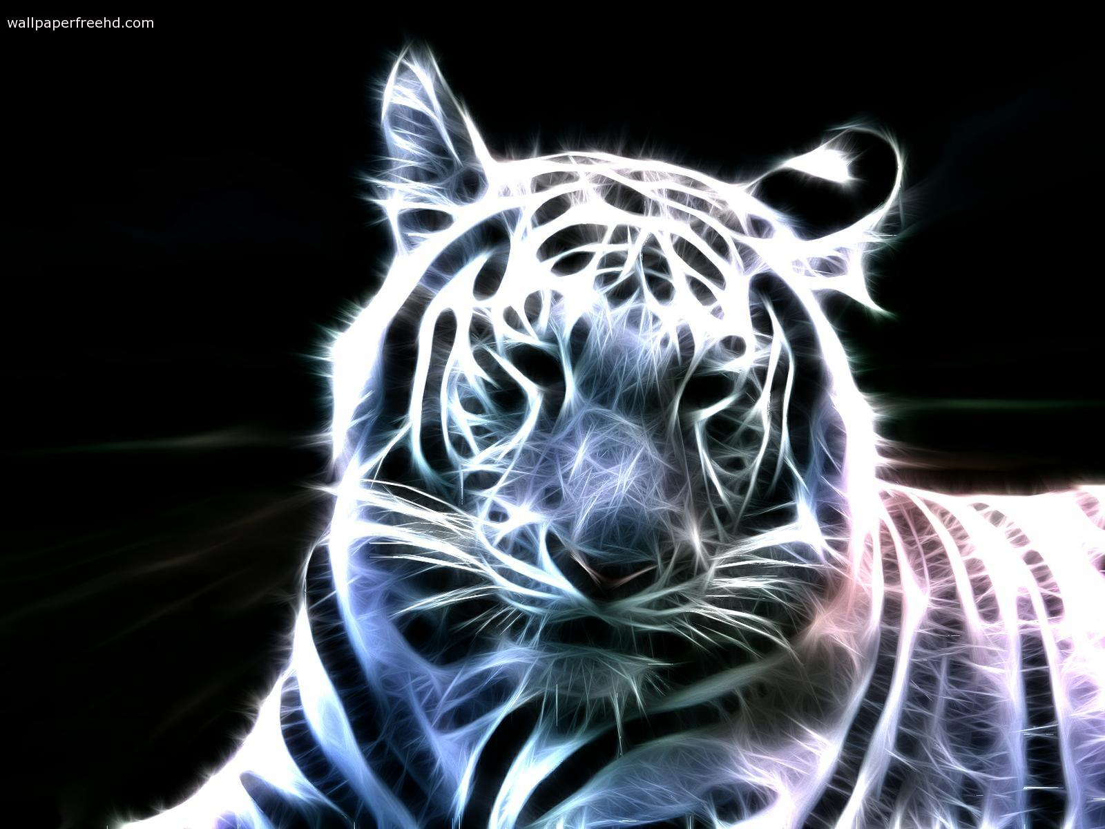 Fractal  big cats white tigers  ART TWO