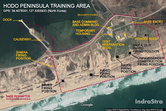 Map Attribute: Hodo Peninsula Training Area and May 4, 2019, Paved Missile Firing Position / Source: DigitalGlobe/Google Maps