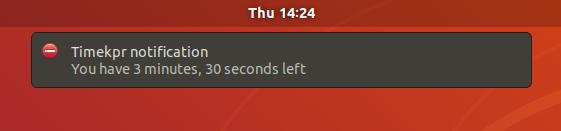 Parental control Timekpr notification Gnome Shell