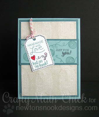 Handmade with Love Crochet Tag Card by Crafty Math Chick | Tag Sampler & Newton Unwinds by Newton's Nook Designs