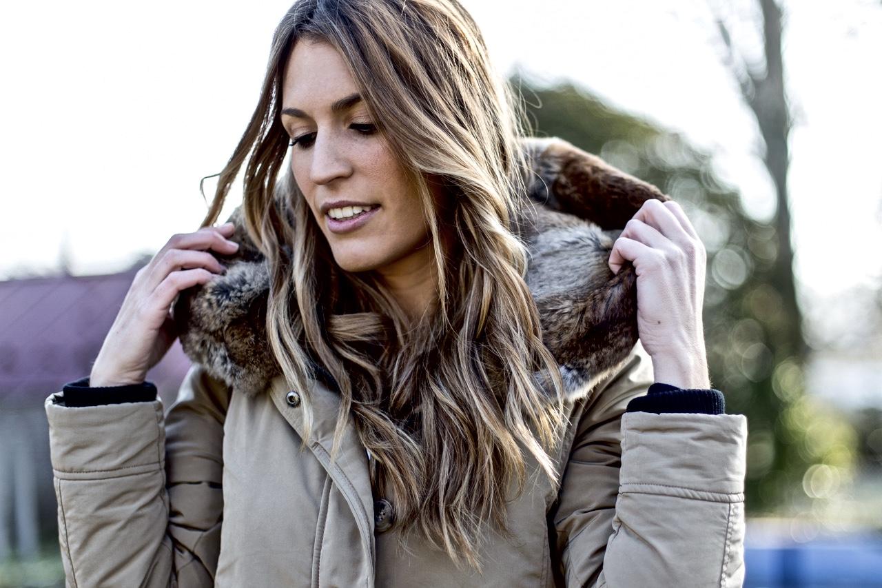 abrigo capucha pelo conejo