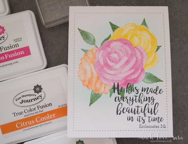 Clean and Simple One Layer Card, created with Fun Stampers Journey Printed Rose, and Hope Anchors, Stamp Sets.  Using stamp masking to create a beautifully layered floral image | muchlovesara.com
