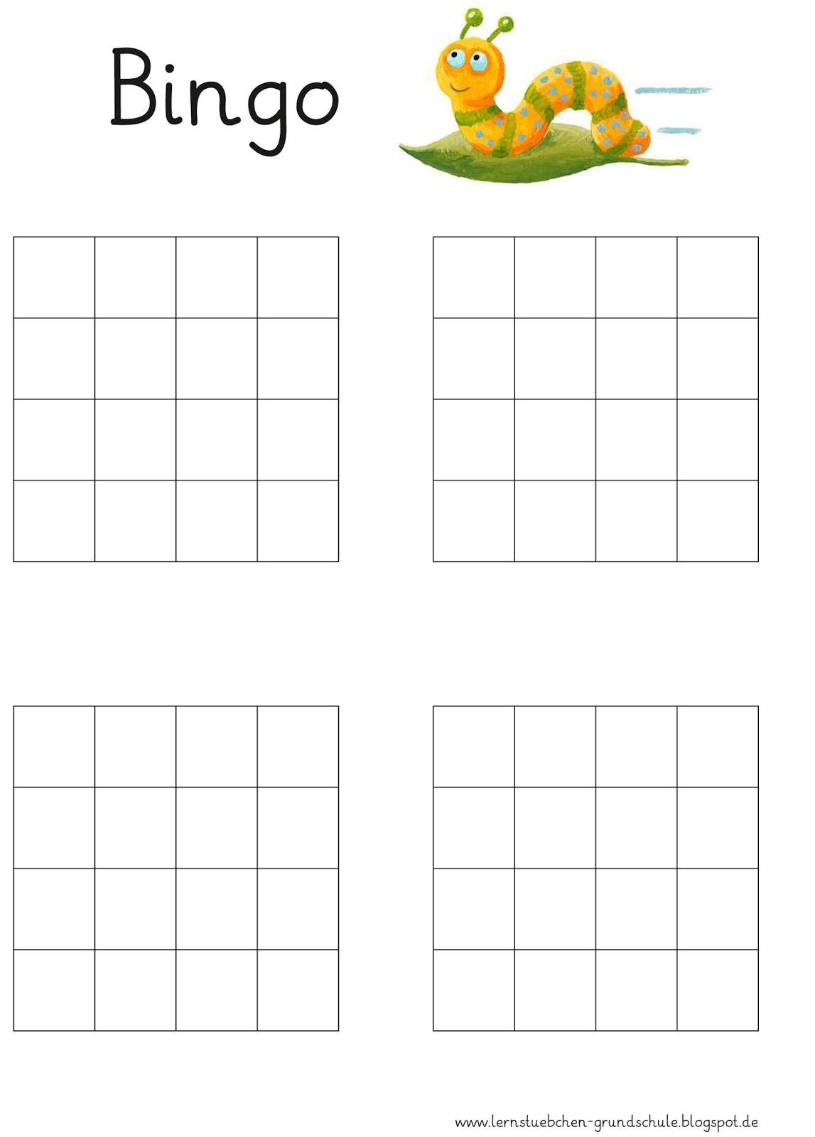 Lernstübchen: eine Bingovorlage ohne Zahlen