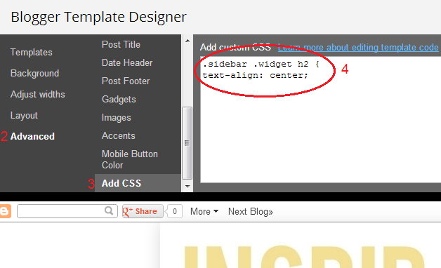 how to center gadget titles on sidebar