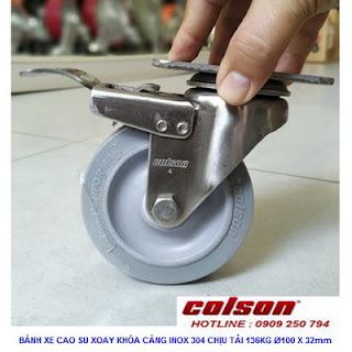 Bánh xe cao su có khóa hãm càng inox 304 Colson | 2-4456-444-BRK4 www.banhxeday.xyz
