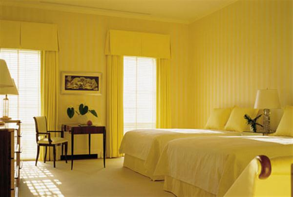Yellow bedroom decorating ideas with Unique Paint