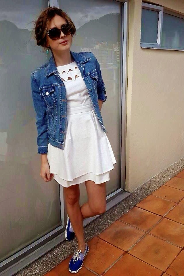 outfit white dress jean jacket