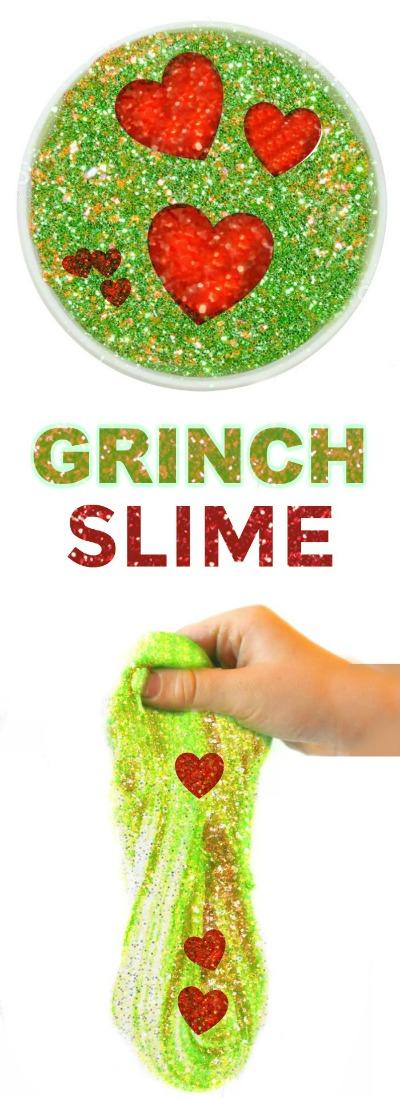 GRINCH SLIME- so fun for kids & only 2 ingredients!!  #slimerecipes #slimeforkids #Christmasslime