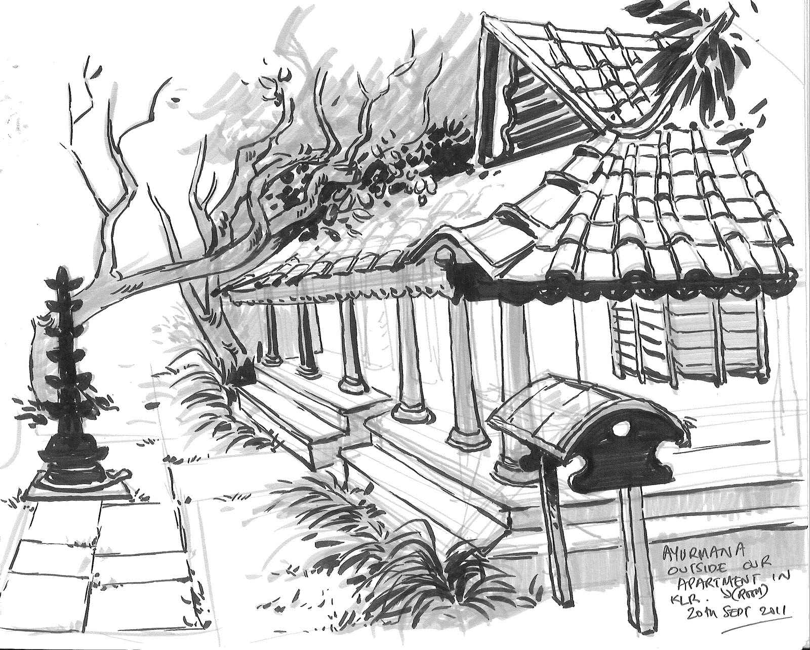 Drawn And Painted Sketches From Kerala