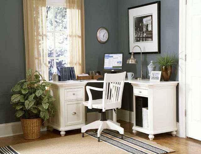 white wood home office desk corner design ideas pictures