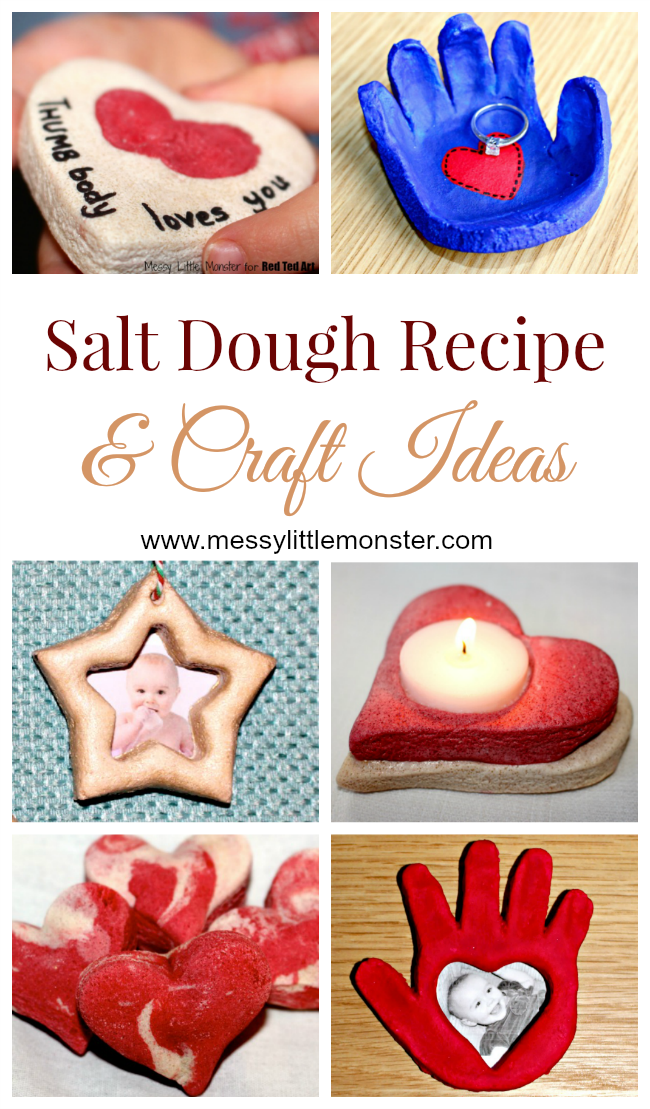 How to make salt dough - easy salt dough recipe and salt dough craft ideas for kids. Read our salt dough hints and tips on colouring salt dough, drying out salt dough, sealing salt dough and storing salt dough