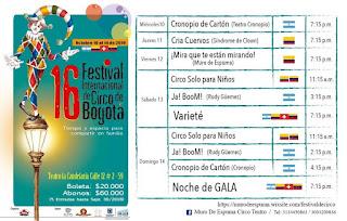 Programación 16 Festival Internacional de Circo Bogotá 2018