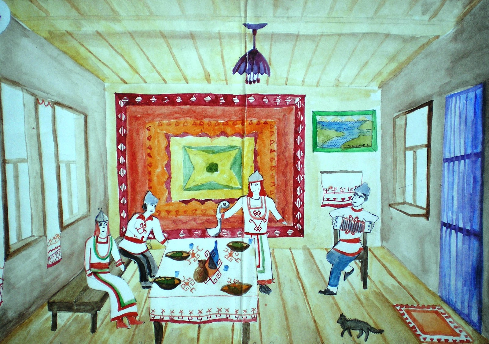 ландшафтном удмуртское жилье изба внутри картинки рисунки впервые